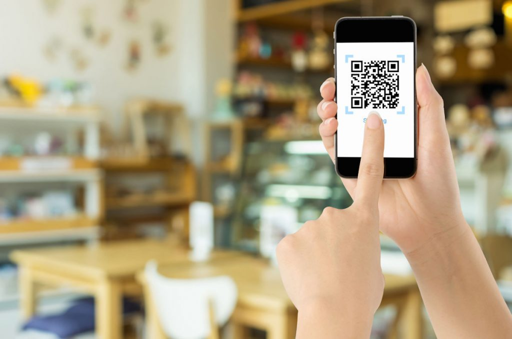 Smartphone showing a picture of a QR Code